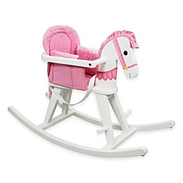 Teamson Kids Toddler Rocking Horse in White/Pink