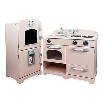 Teamson Kids 2-Piece Wooden Play Kitchen Set in Pink