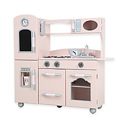 Teamson Kids One-Piece Wooden Play Kitchen Set in Pink