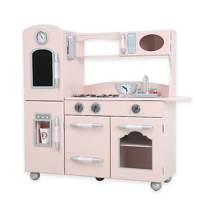 Teamson Kids One-Piece Wooden Play Kitchen Set in Pink | Bed ...