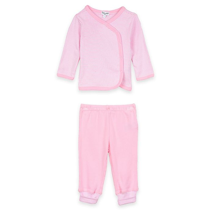 Alternate image 1 for Splendid® 2-Piece Long Sleeve Striped Kimono Top and Pant Set in Pink