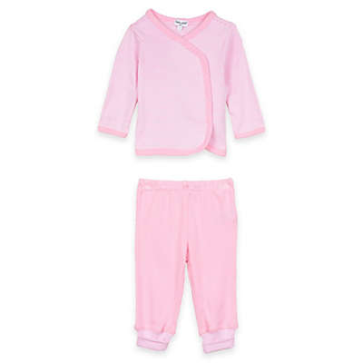 Splendid® 2-Piece Long Sleeve Striped Kimono Top and Pant Set in Pink