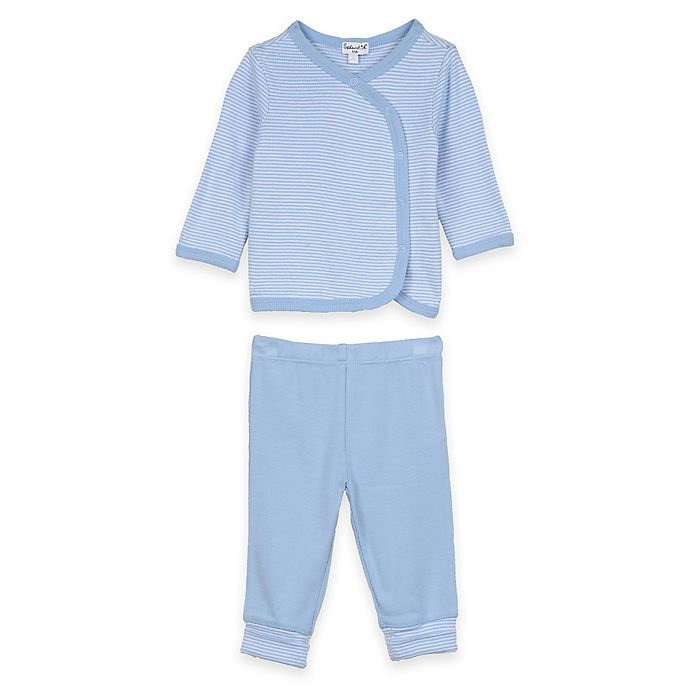 bd0a829f1 Splendid® Size 6-9M 2-Piece Long Sleeve Striped Kimono Top and Pant Set in  Blue
