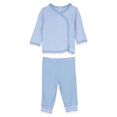 Splendid® 2-Piece Long Sleeve Striped Kimono Top and Pant Set in Blue