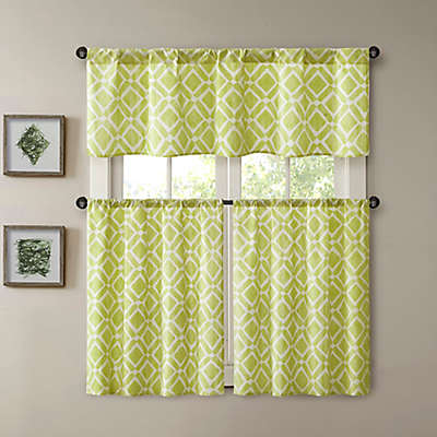 Madison Park Delray Printed Diamond Window Curtain Panel and Valance