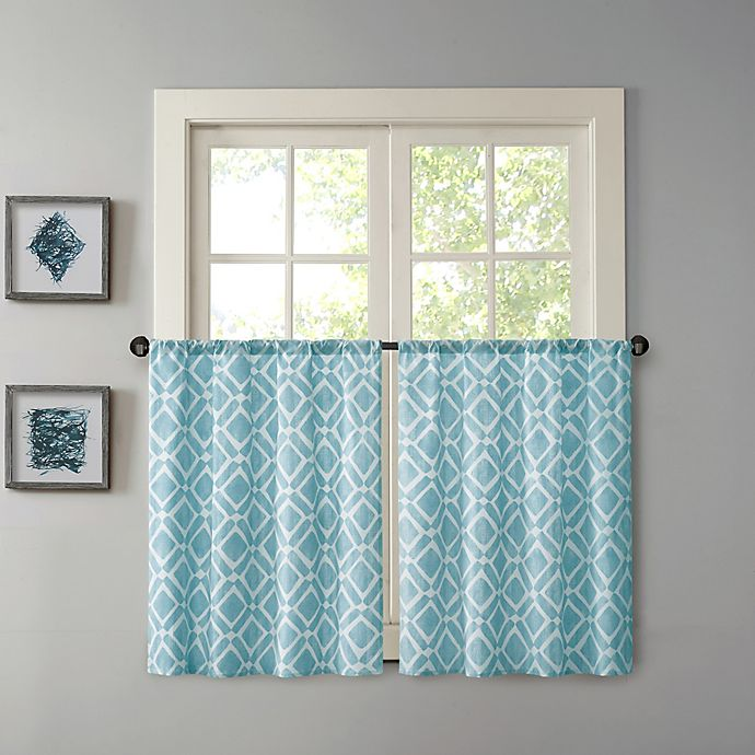Alternate image 1 for Madison Park Delray 36-Inch Printed Diamond Window Curtain Tier Pair in Blue