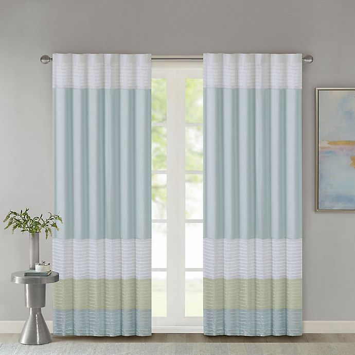 Alternate image 1 for Madison Park Amherst 84-Inch Rod Pocket/Back Tab Window Curtain Panel in Green