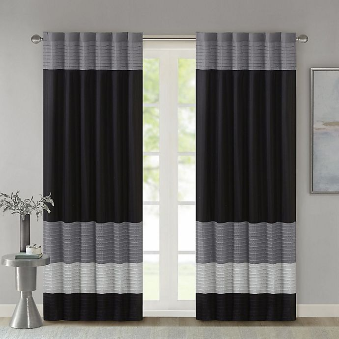 Alternate image 1 for Madison Park Amherst 84-Inch Rod Pocket/Back Tab Window Curtain Panel in Black