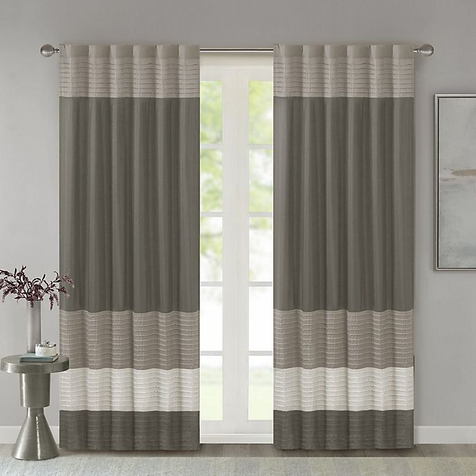 Alternate image 1 for Madison Park Amherst 84-Inch Rod Pocket/Back Tab Window Curtain Panel in Natural