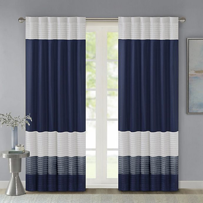Alternate image 1 for Madison Park Amherst 84-Inch Rod Pocket/Back Tab Window Curtain Panel in Navy