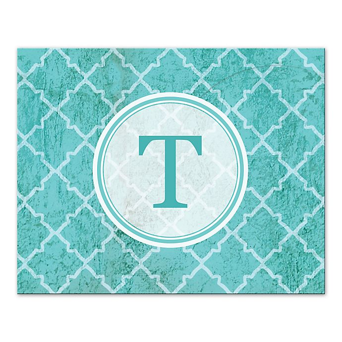 Alternate image 1 for Teal Texture Letter Canvas Wall Art