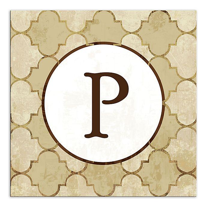 Alternate image 1 for Bits of Gold Quatrefoil Monogram Letter Canvas Wall Art