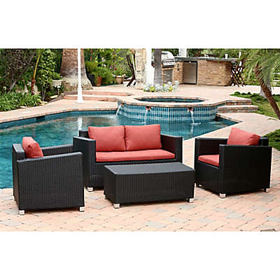 Abbyson Living® Hampton 4-Piece Outdoor Wicker Sofa Set