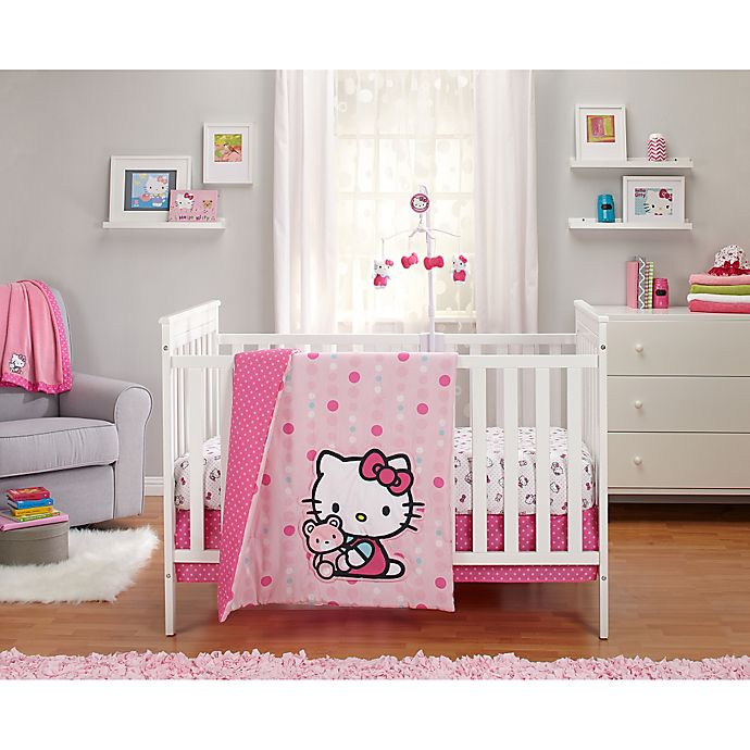 Alternate image 1 for Hello Kitty® Cute as a Button 3-Piece Crib Bedding Set