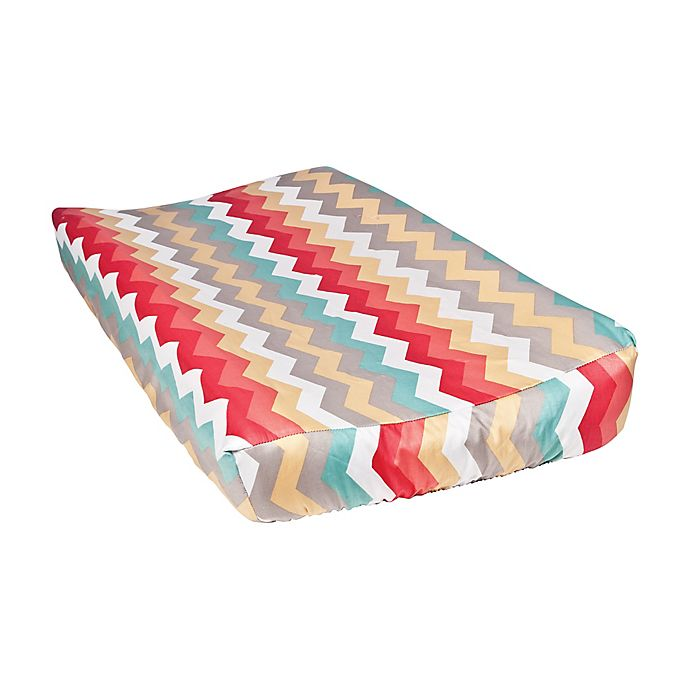 Alternate image 1 for Waverly® Baby by Trend Lab® Pom Pom Play Chevron Changing Pad Cover