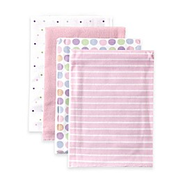 BabyVision® Luvable Friends® 4-Pack Stripes Flannel Receiving Blankets in Pink