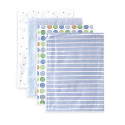 BabyVision® Luvable Friends® 4-Pack Stripes Flannel Receiving Blankets in Blue