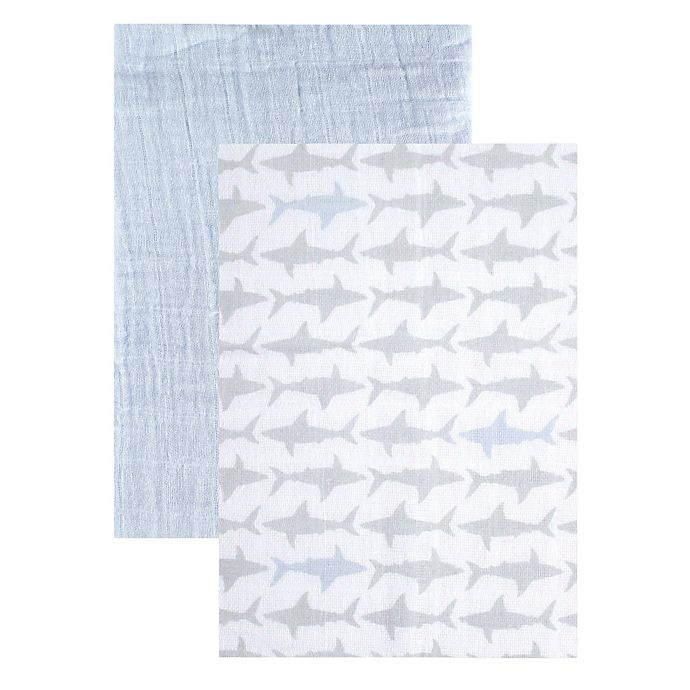 Alternate image 1 for BabyVision® Yoga Sprout 2-Pack Sharks Muslin Swaddle Blankets in Blue