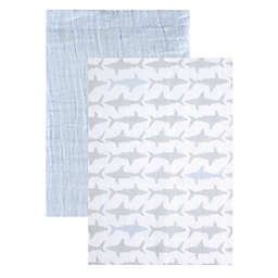 BabyVision® Yoga Sprout 2-Pack Sharks Muslin Swaddle Blankets in Blue
