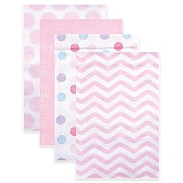 BabyVision® Luvable Friends® 4-Pack Dots Flannel Receiving Blankets in Pink