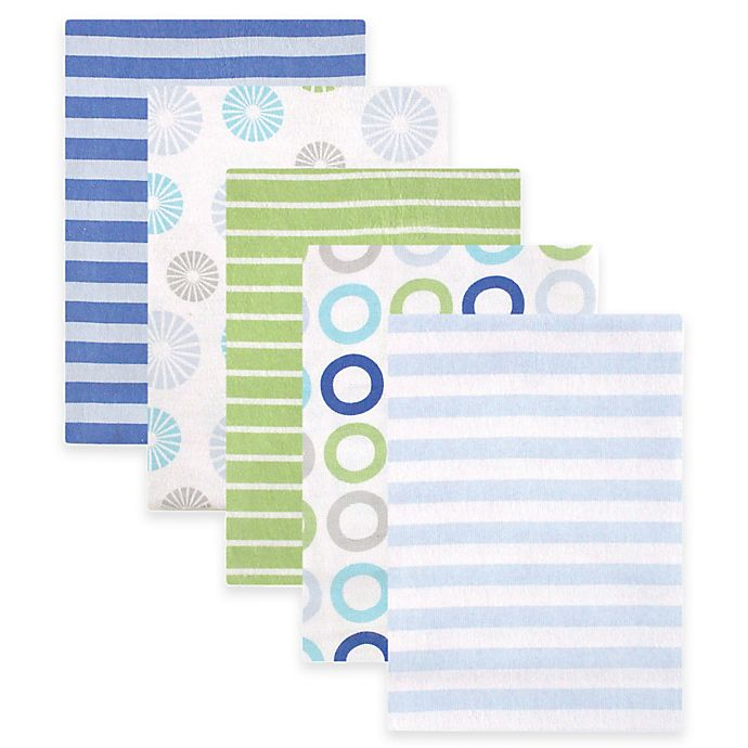 Alternate image 1 for BabyVision® Luvable Friends® 5-Pack Pinwheel Flannel Receiving Blankets in Blue
