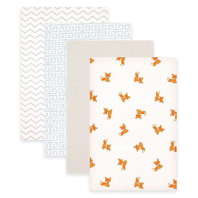 Alternate image 1 for BabyVision® Luvable Friends® 4-Pack Foxes Flannel Receiving Blankets in Blue