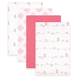 BabyVision® Luvable Friends® 4-Pack Bird Flannel Receiving Blankets in Pink