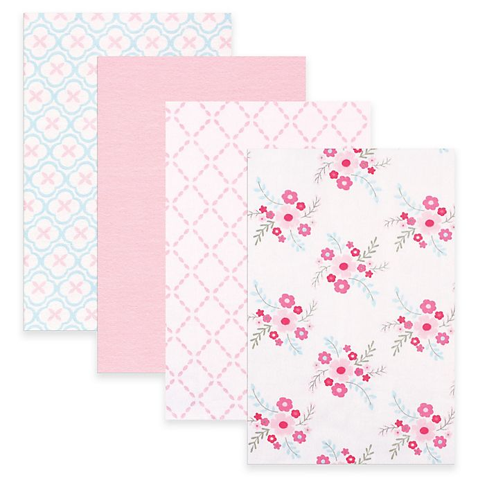 Alternate image 1 for BabyVision® Luvable Friends® 4-Pack Floral Flannel Receiving Blankets in Pink