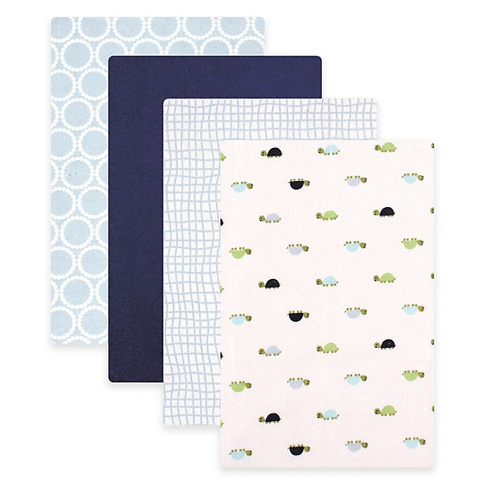 Alternate image 1 for BabyVision® Luvable Friends® 4-Pack Turtles Flannel Receiving Blankets in Blue