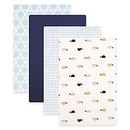 BabyVision® Luvable Friends® 4-Pack Turtles Flannel Receiving Blankets in Blue