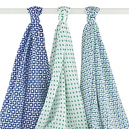 BabyVision® Hudson Baby® 3-Pack Ikat Muslin Swaddle Blankets in Blue