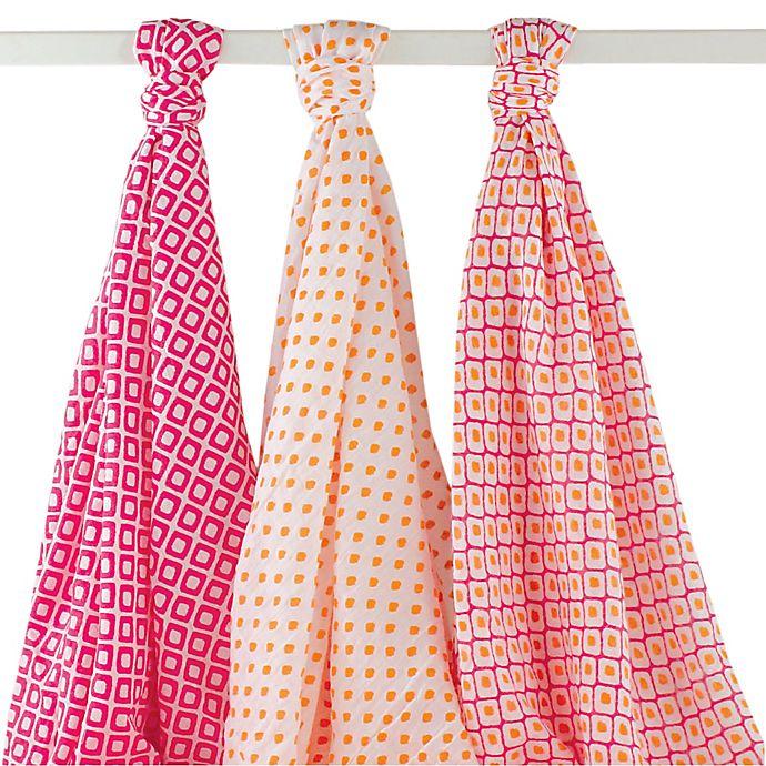 Alternate image 1 for BabyVision® Hudson Baby® 3-Pack Ikat Muslin Swaddle Blankets in Pink