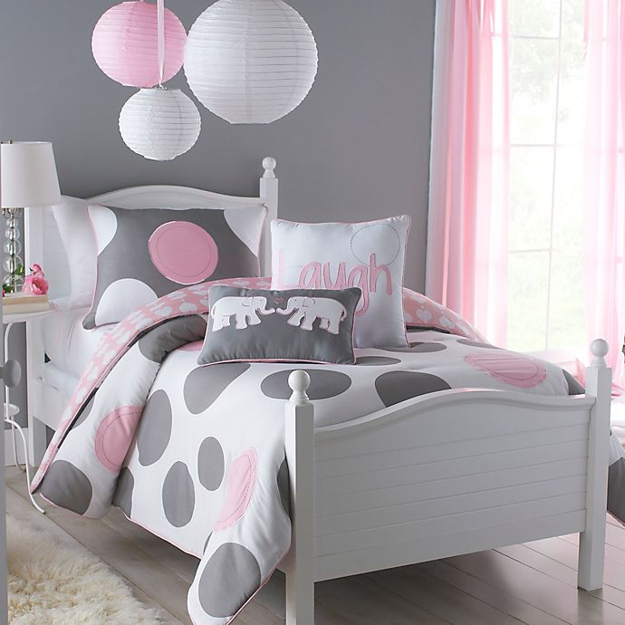 Vcny Pink Parade Reversible Comforter Set In Pink Grey
