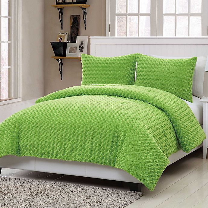 Alternate image 1 for VCNY Rose Fur 2-Piece Twin Comforter Set in Green