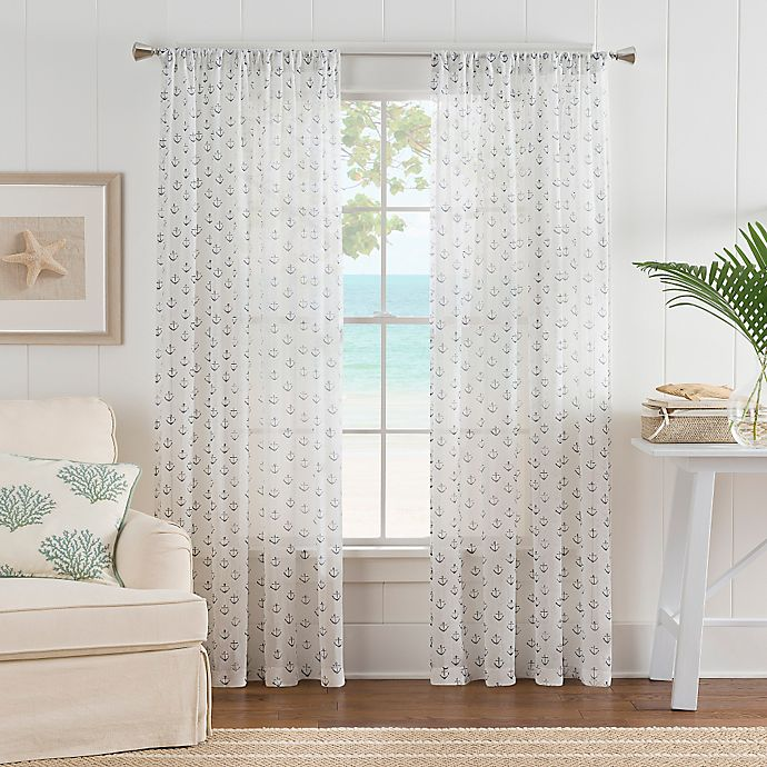 Alternate image 1 for Nautical Anchor 84-Inch Rod Pocket Sheer Window Curtain Panel in White/Blue