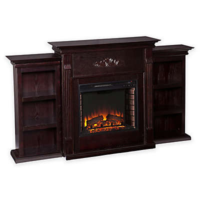 Southern Enterprises Tennyson Electric Fireplace with Bookcases in Espresso