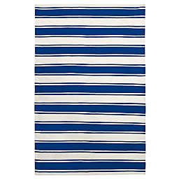 Fab Habitat Lucky Wide Stripe Area Rug in Blue/White