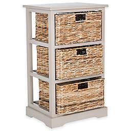 Safavieh Halle 3-Wicker-Basket Storage Side Table