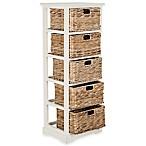 Safavieh Vedette 5-Wicker-Basket Storage Chest in Distressed White