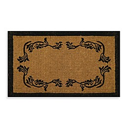 Nature by Geo Crafts Imperial Leaf Border Door Mat in Natural/Black