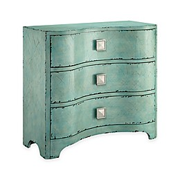 Madison Park 3-Drawer Fulton Bombe Chest in Distressed Blue