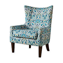 Madison Park Carissa Shelter Wing Chair in Blue/Yellow