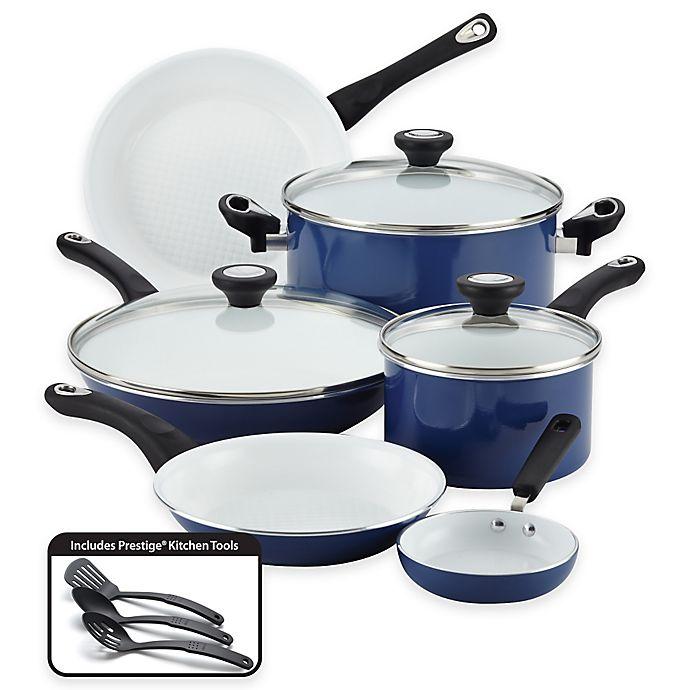 Alternate image 1 for Farberware® PURECOOK™ Ceramic Nonstick 12-Piece Cookware Set in Blue