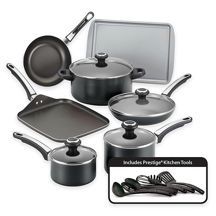 Alternate image 1 for Farberware® High Performance Nonstick Aluminum 17-Piece Cookware Set in Black