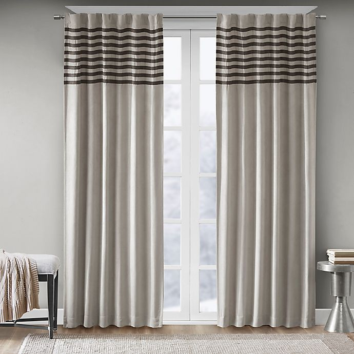 Alternate image 1 for Madison Park Dune 84-Inch Rod Pocket Window Curtain Panel Pair in Grey/Black