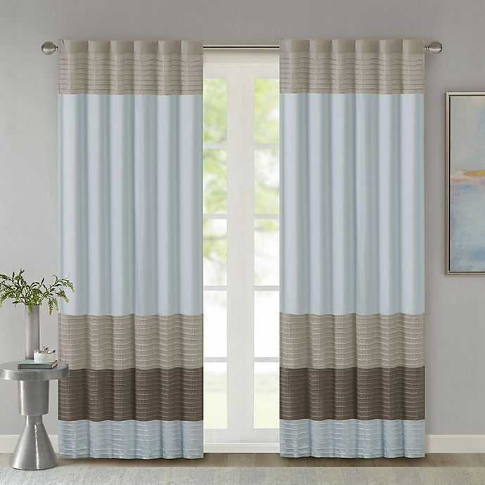 Alternate image 1 for Madison Park Amherst 84-Inch Rod Pocket/Back Tab Window Curtain Panel in Blue