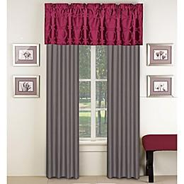 Aryn 84-Inch Window Curtain Panel Pair in Red/Grey