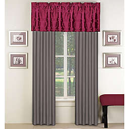 Aryn 84-Inch Window Curtain Panel Pair in Red/Grey