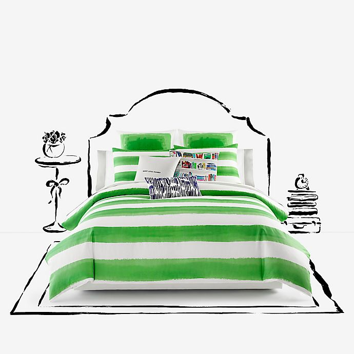 Alternate image 1 for kate spade new york Rugby Stripe King Duvet Cover Set in Green