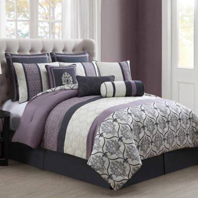 darla 10 piece comforter set in purple grey bed bath beyond. Black Bedroom Furniture Sets. Home Design Ideas